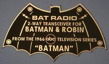 CUSTOM 1966 BAT RADIO 2-WAY TRANSCEIVER DISPLAY NAME PLATE BATMAN TV SERIES