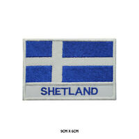 SHETLAND County Flag With Name Embroidered Patch Iron on Sew On Badge