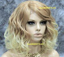 Hand Tied Monofilament Lace Front Full Wig Bob Wavy Layered Medium Blonde Mix