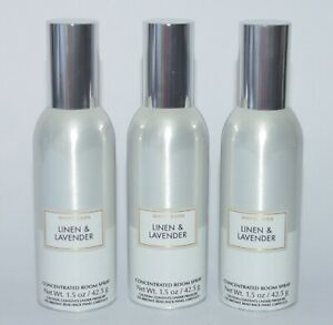 3 BATH & BODY WORKS LINEN & LAVENDER CONCENTRATED ROOM SPRAY PERFUME FRESHENER
