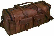 "Men's Women's Luggage Duffle Gym Bag Handbag Travel Bag Real Leather 24"" Holdall"