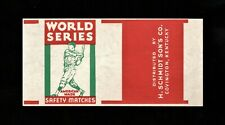>orig. 1940's WORLD SERIES SAFETY MATCHES *Unused Matchbox Label* w/Ballplayer