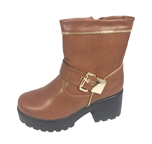 Womens Ladies Brown Faux Leather Mid Heel Winter Shoes Ankle Boots Size UK 4 New