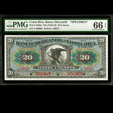 Banco Mercantil Costa Rica 20 Colones (1910-16) PMG 66 GEM UNC Specimen P-S203s