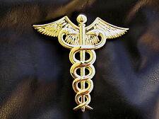 """UK ~ DOCTOR MEDICAL LOGO 3"""" GOLD-PLATED METAL CAR BADGE Caduceus Emblem *NEW*"""