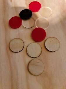 Round acrylic, wooden discs handycraft hobby 30mm, set of 10 discs