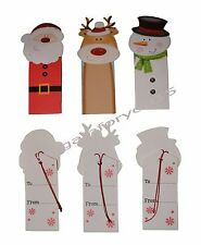 12 Christmas Luxury Handcrafted Gift Tags Novelty with string Xmas Present