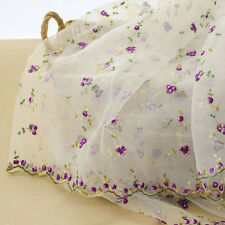 "1 Yard Lace Fabric White Organza Small Rose Embroidery Wedding Bridal 51"" Width"