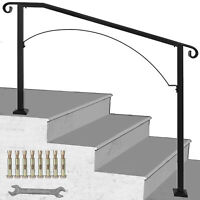 Iron Handrail Arch Fits 3 or 4 Steps Matte Black Paver Step Powder Coating