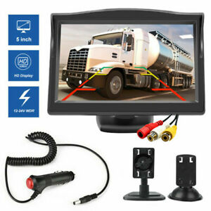 """5"""" TFT LCD Color Monitor W/ Switch Kit For Car Rear View Reverse Camera 12V-24V"""