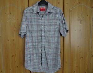 Craghoppers Mens Nosilife Short-Sleeved Shirt. Small. Blue / Grey / orange Check