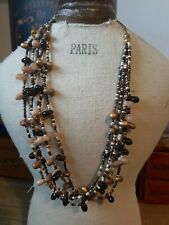 Multi Strand Polished Stone Natural Coloured Necklace