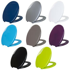 Coloured Toilet Seat Easy Clean Oval Shape Durable Plastic Bathroom WC Hinged