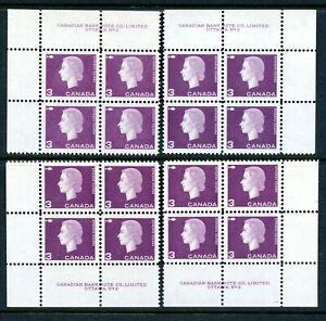 Weeda Canada 403 VF MNH M/S of Plate #2 blocks, 3c purple Cameo CV $5