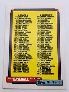 Baseball Carte  1992  Topps - Baseball Checklist Carte  1 De 6  131