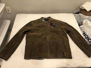 NWT $698.00 Polo Ralph Lauren Mens Suede Cafe Racer Biker Jacket Grey Sz XL