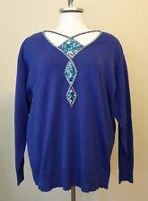 Bob Mackie Womens Blue Long Sleeve Sweater Sequin Bead Detail Size XL