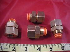 "SMC KQ2E11-36 Lot of (4) Fittings 3/8"" npt Bulkhead Connector Brass Nnb New"