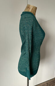 Ladies Vintage Style Green Gold Thread Disco Knitted Top Dress - Size Medium