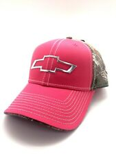 3ac514a7d06 NWT Ladies Pink Chevrolet Chevy Bowtie Realtree Camo Adjustable Cap Hat