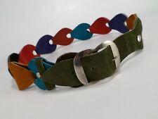 Chain Leather Belt Suede Waist Red Blue Green Purple Orange Black Brown 30 32