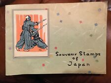 Souvenir Stamps of Japan Booklet inc hand printed Wood Engraving on cover