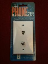 "LEVITON,TV/PHONE FLUSH MOUNT WALL PLATE, WHITE,834-C2450-W,""F"" PLUG,NO CORD"
