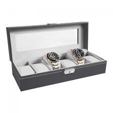 Watch Box 6 Mens Gray & Black Leather Display Glass Top Jewelry Case Organizer