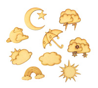 Weather Themed Pack of 9 Shapes MDF Wooden Craft Rainbow Cloud Sun Moon Rain