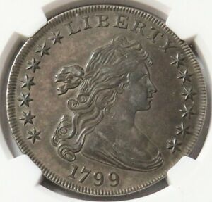 1799 SILVER DRAPED BUST FLOWING HAIR DOLLAR NGC ABOUT UNC 50