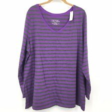 Cacique Pajama Top Womens 22/24 Purple Gray Stripe Long Sleeve V-neck