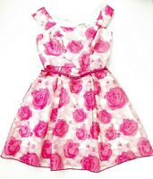 Review Women's Size 10 Pink Rose Floral Off Shoulder Belt Fit Flare Belt Dress