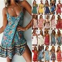 Women Boho Floral Short Mini Dress Holiday Party Evening Summer Beach Sundress