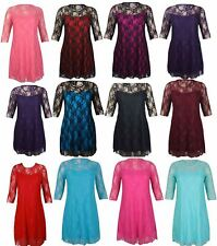 NEW WOMENS LADIES PLUS SIZE FLORAL LACE DETAIL PARTY DRESS 3/4SLEEVE DRESS 14-28