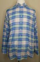 Vineyard Vines Classic Fit Tucker Shirt Mens Plaid Check Button Down Blue XL EUC
