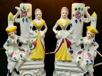 Pair Retro Boudoir Vanity Lamp 1950's Kitch Italian/French Couple Made in Japan