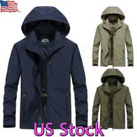 US Men's Outdoor Warm Hooded Jacket Waterproof Outwear Rain Coat Tactical Winter