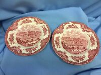 """Lot Of 2 Red & White Johnson Brothers """"Old Britain Castles"""" 6.25 Plates, Haddon"""