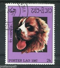 Laos, 1987, Stamp 772, Head, Dog, Obliterated, VF Used Stamp, Dogs