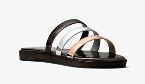 Michael Kors KEIKO Metallic SLIDE SANDALS Shoes GUN SILVER Size 8 -New In Box-