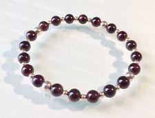 Red Garnet & 925 Sterling Silver Beaded Stretch Bracelet Stackable