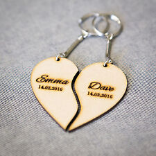 Personalised Anniversary Wedding Christmas Gift Keyring Wood Love Heart 2piece