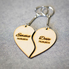 Personalised Anniversary Wedding Christmas Gift Keyring Wood Love Heart 2piece