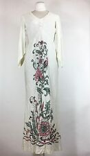Vintage Ivory Dress Silver Glitter Sparkle Floral Beaded Hand Painted Maxi 1960s