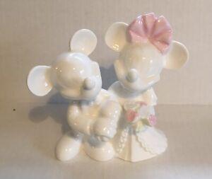 "Bone White China Disney Mickey Minnie Wedding Cake Topper 5"" Wedgewood RARE Mint"