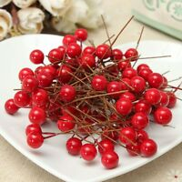 100X Red Mini Berry Manmade Red Holly Berries 10mm Home Bouquet Christmas Decor
