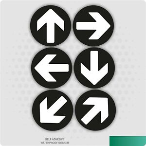 6 x Direction Arrows Black Self-Adhesive Stickers Safety Signs