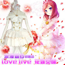 Anime Nishikino Maki Love Live Lolita White Wedding dress Cosplay Costume jk