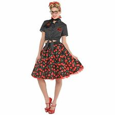 Ladies Rockabilly Blouse Top 1950s 50s Pin Up Girl Adults Fancy Dress Costume