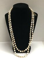 Vintage NOS GENUINE Mother Of Pearl MOP JAPAN Gold Tone Strand Necklace 24""